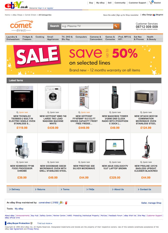 Comet eBay Store | Slingshot Graphic Design & Web Design