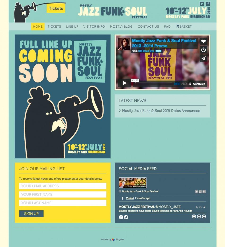 website and online ticket sales for mostly jazz festival slingshot